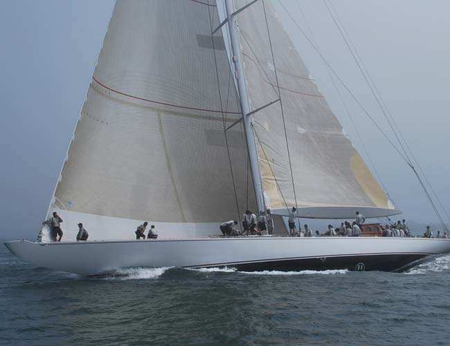 J yacht Ranger queueing up for a Newport race as seen from a private sail boat tour