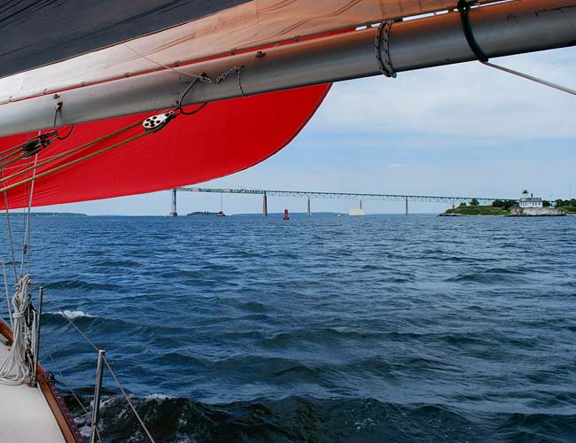 On Watch boating sailing tour takes you by Newport's Rose Island Lighthouse
